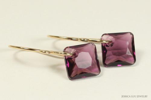 14K yellow gold filled amethyst purple crystal dangle earrings handmade by Jessica Luu Jewelry