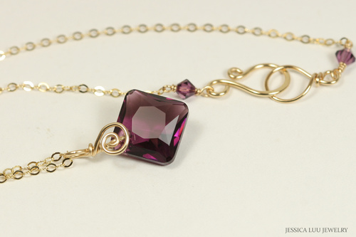 14K yellow gold filled wire wrapped amethyst purple Swarovski crystal pendant necklace handmade by Jessica Luu Jewelry