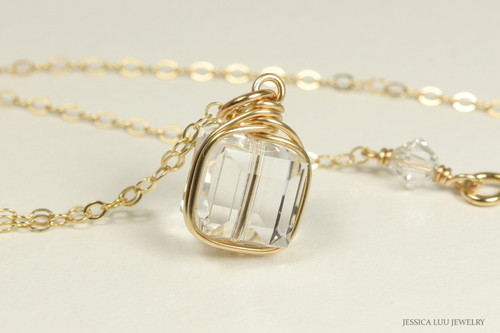 14K yellow gold filled wire wrapped clear Swarovski crystal cube pendant necklace handmade by Jessica Luu Jewelry