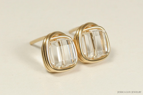 14K yellow gold filled wire wrapped clear Swarovski crystal cube stud earrings handmade by Jessica Luu Jewelry