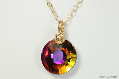 14K yellow gold filled wire wrapped orange purple volcano crystal pendant on chain necklace handmade by Jessica Luu Jewelry