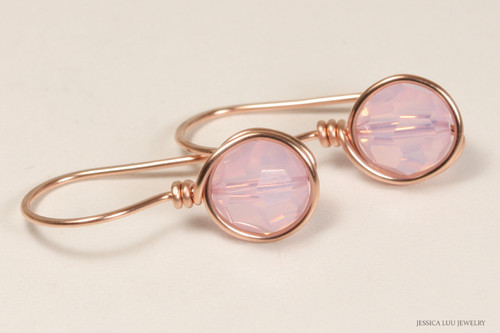 14K rose gold filled wire wrapped rosewater opal pink Swarovski crystal earrings handmade by Jessica Luu Jewelry
