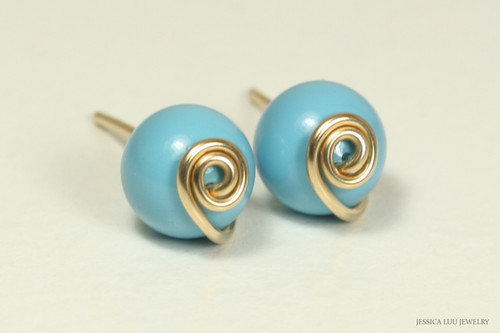 14K yellow gold filled wire wrapped turquoise blue Swarovski pearl stud earrings handmade by Jessica Luu Jewelry