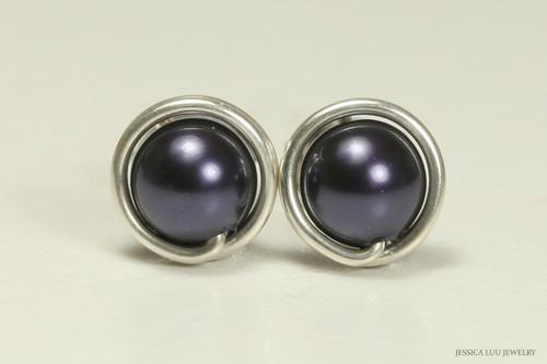 Sterling silver wire wrapped dark purple Swarovski pearl stud earrings handmade by Jessica Luu Jewelry