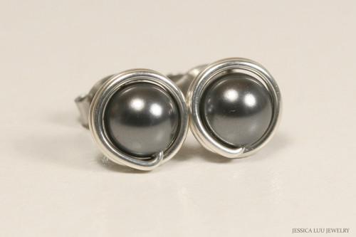 Sterling silver wire wrapped dark grey Swarovski pearl stud earrings handmade by Jessica Luu Jewelry
