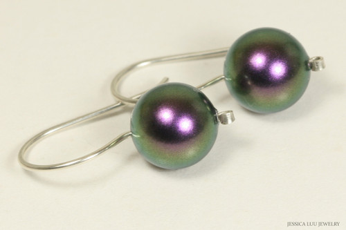 Sterling silver iridescent purple pearl drop earrings handmade by Jessica Luu Jewelry