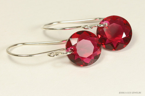 Sterling silver scarlet red crystal dangle earrings handmade by Jessica Luu Jewelry