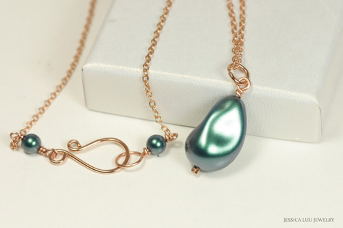 14K rose gold filled wire wrapped iridescent Tahitian baroque teardrop pearl necklace handmade by Jessica Luu Jewelry