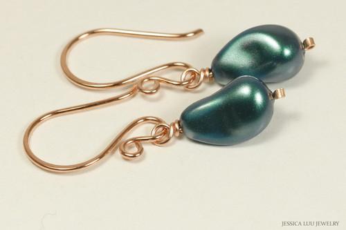 14K rose gold filled wire wrapped iridescent Tahitian baroque teardrop pearl dangle earrings handmade by Jessica Luu Jewelry