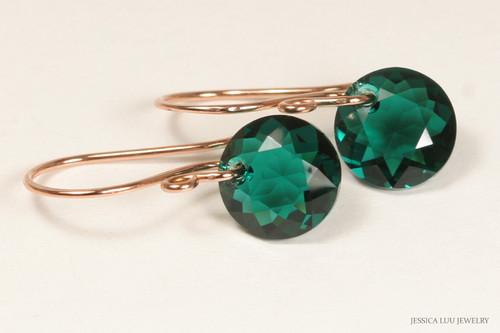 14K rose gold filled earrings with emerald green Swarovski crystal dangles handmade by Jessica Luu Jewelry
