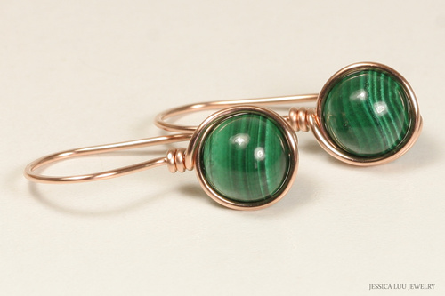 14K rose gold filled wire wrapped malachite green gemstone earrings handmade by Jessica Luu Jewelry