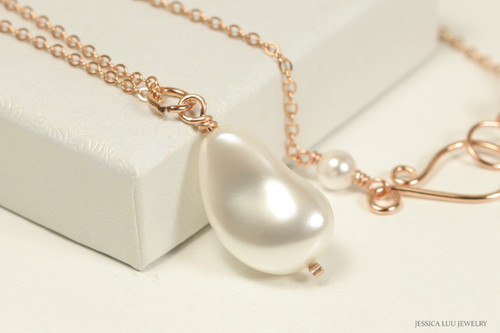 14K rose gold filled chain necklace with white pearl solitaire handmade by Jessica Luu Jewelry