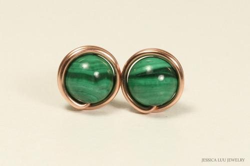 14K rose gold filled wire wrapped malachite gemstone stud earrings handmade by Jessica Luu Jewelry