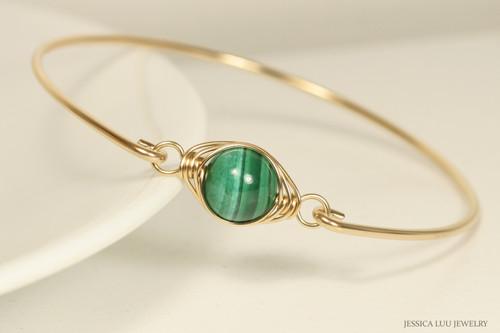 14K yellow gold filled wire wrapped malachite gemstone bangle bracelet handmade by Jessica Luu Jewelry