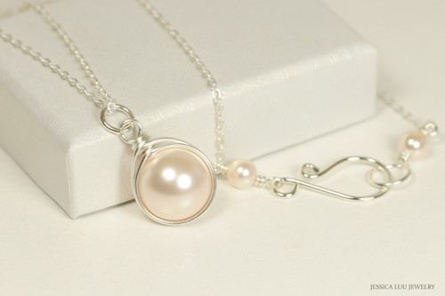 Sterling silver wire wrapped creamrose  pearl solitaire necklace handmade by Jessica Luu Jewelry