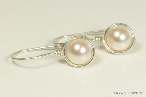 Sterling silver wire wrapped creamrose pearl drop earrings handmade by Jessica Luu Jewelry