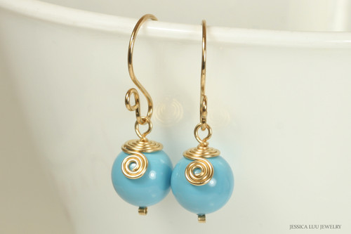 14K yellow gold filled wire wrapped turquoise blue dangle earrings handmade by Jessica Luu Jewelry