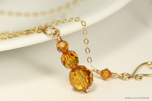14K gold filled orange topaz  crystal pendant necklace handmade by Jessica Luu Jewelry