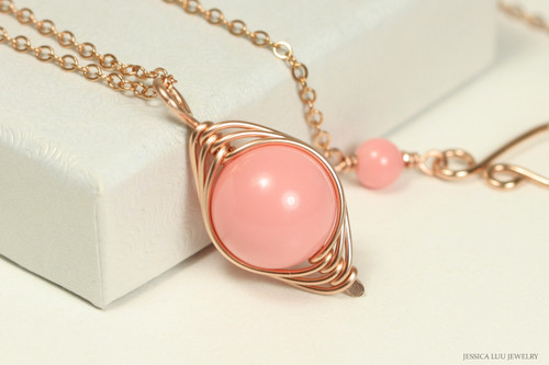 14K rose gold filled wire wrapped pink coral necklace handmade by Jessica Luu Jewelry