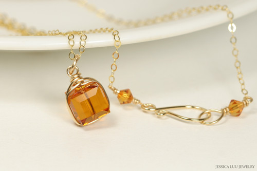 14k gold filled wire wrapped pendant on chain necklace with orange topaz crystal cube handmade by Jessica Luu Jewelry
