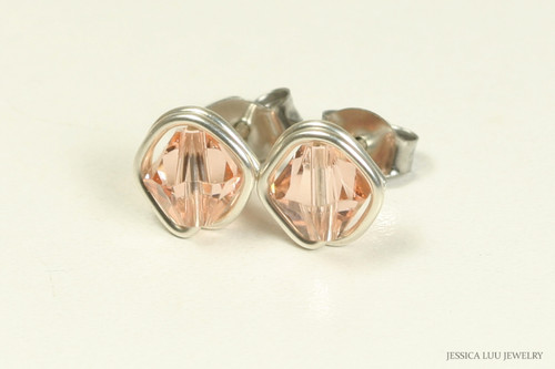 Sterling silver wire wrapped light peach crystal stud earrings handmade by Jessica Luu Jewelry