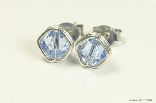 Sterling silver wire wrapped light sapphire blue crystal stud earrings handmade by Jessica Luu Jewelry