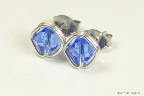 Sterling silver wire wrapped sapphire blue crystal stud earrings handmade by Jessica Luu Jewelry