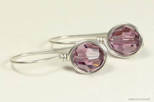 Sterling silver wire wrapped iris purple crystal earrings handmade by Jessica Luu Jewelry