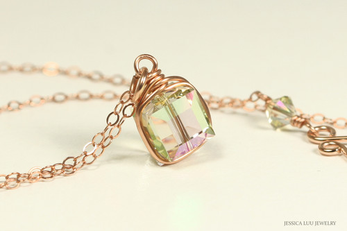 14K rose gold filled wire wrapped luminous green crystal necklace handmade by Jessica Luu Jewelry