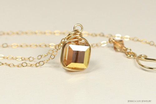14K yellow gold filled wire wrapped metallic sunshine crystal necklace handmade by Jessica Luu Jewelry