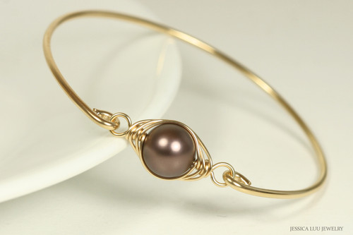 14K gold filed wire wrapped velvet brown nacre pearl bangle bracelet handmade by Jessica Luu Jewelry