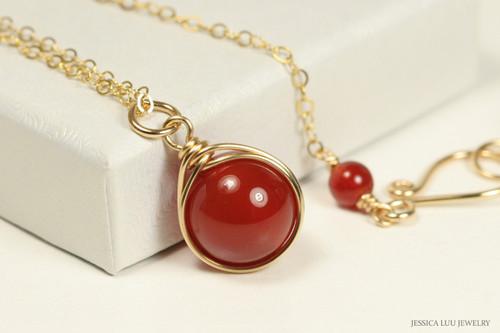14K gold filled wire wrapped carnelian red gemstone necklace handmade by Jessica Luu Jewelry