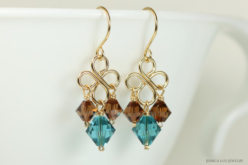 Gold chandelier earrings with indicolite blue and smoked topaz brown crystals handmade by Jessica Luu Jewelry