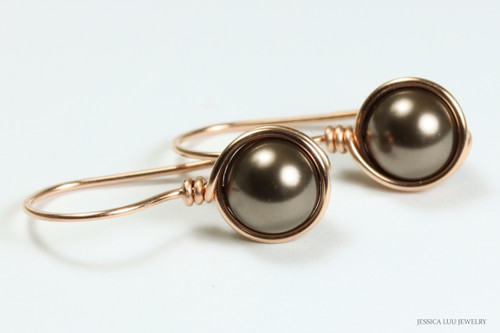 14K rose gold filled wire wrapped chocolate brown pearl drop earrings handmade by Jessica Luu Jewelry