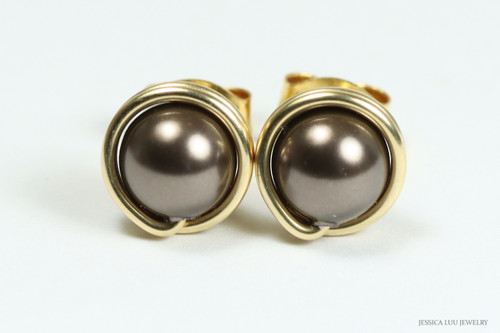 14k gold filled wire wrapped dark chocolate brown pearl stud earrings handmade by Jessica Luu Jewelry