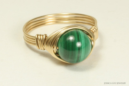 14K gold filled wire wrapped malachite gemstone ring handmade by Jessica Luu Jewelry