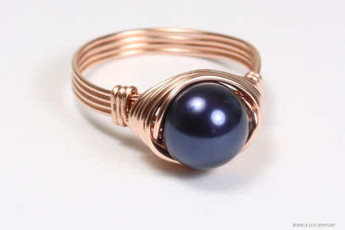 14K rose gold filled wire wrapped night navy blue pearl solitaire ring handmade by Jessica Luu Jewelry