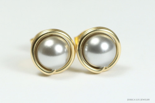 14K gold filled wire wrapped light grey silver pearl stud earrings handmade by Jessica Luu Jewelry
