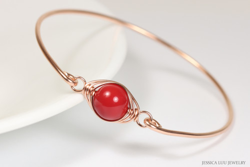 handmade 14k rose gold filled wire wrapped bangle bracelet with red coral pearl by Jessica Luu Jewelry
