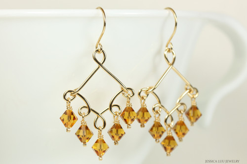 14K gold filled chandelier earrings with topaz crystals handmade by Jessica Luu Jewelry