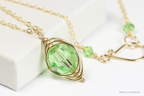 14K gold filled wire wrapped peridot green crystal pendant necklace handmade by Jessica Luu Jewelry