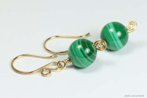 14K yellow gold filled malachite green gemstone earrings handmade by Jessica Luu Jewelry