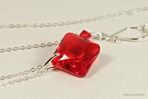 Sterling silver light siam red Swarovski crystal princess cut pendant on chain necklace handmade by Jessica Luu Jewelry