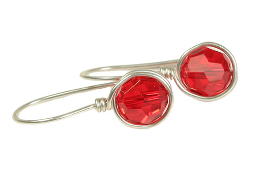 Sterling silver wire wrapped light siam red crystal earrings handmade by Jessica Luu Jewelry