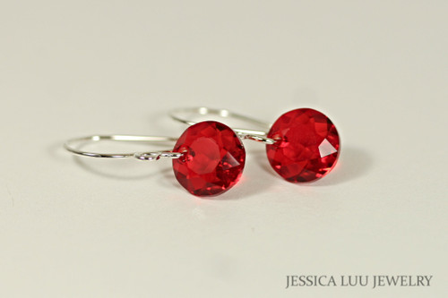 Sterling silver dangle earrings with light siam red Swarovski crystals handmade by Jessica Luu Jewelry