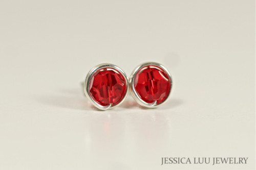 Sterling Silver Red Swarovski Crystal Stud Earrings - Available in 2 Sizes and Other Metal Options