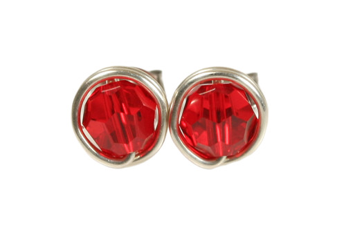 Sterling silver wire wrapped light siam red crystal stud earrings handmade by Jessica Luu Jewelry