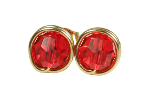14K gold filled wire wrapped light siam red crystal stud earrings handmade by Jessica Luu Jewelry