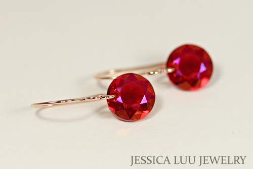 Rose Gold Pink Red Crystal Dangle Earrings