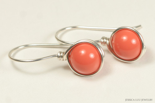Sterling silver wire wrapped orange coral Swarovski pearl drop earrings handmade by Jessica Luu Jewelry